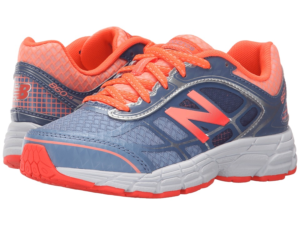 New Balance Kids 860v5 Little Kid/Big Kid Grey/Orange Girls Shoes