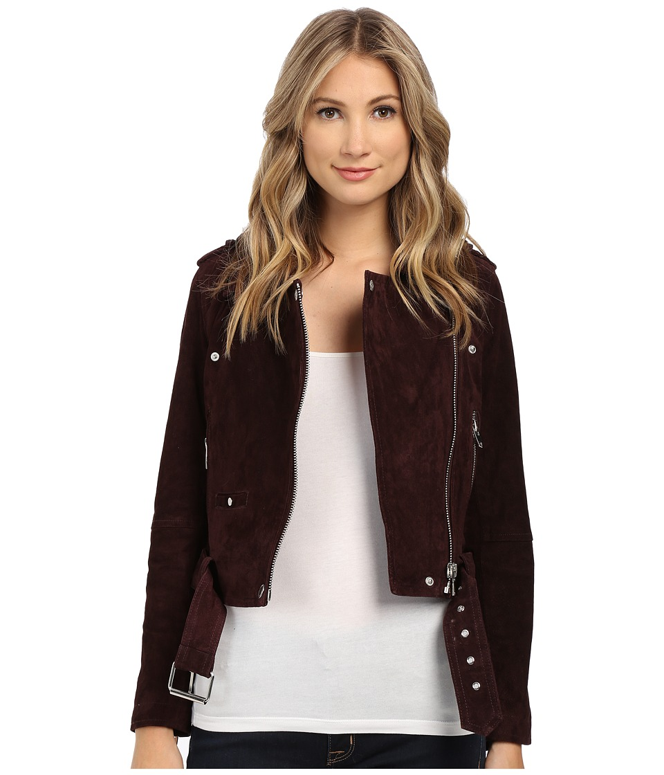 Blank NYC - Burgundy Suede Moto Jacket in Morning After (Morning After) Womens Coat