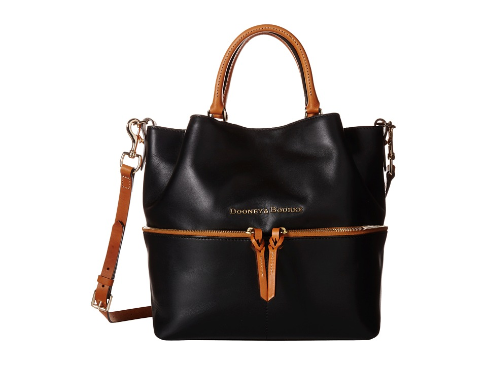Dooney & Bourke - City Dawson (Black/Natural Trim) Satchel Handbags