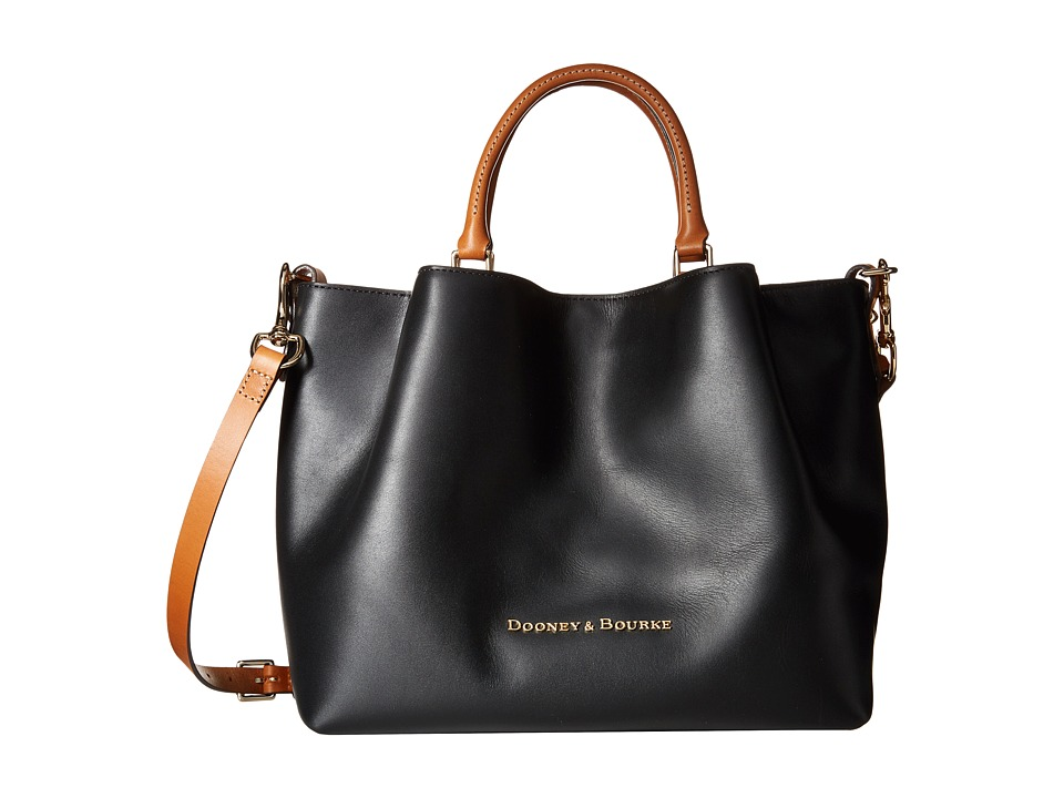 Dooney & Bourke - City Large Barlow (Black / Natural Trim) Satchel Handbags