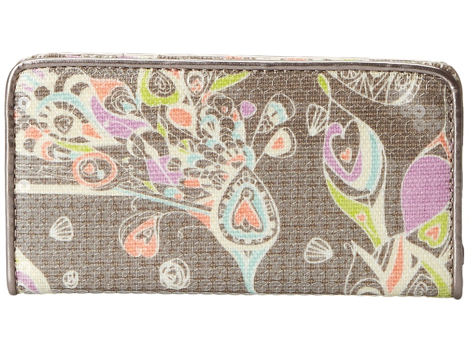 Sakroots - Artist Circle Slim Wallet (Slate Songbird Sequins) Wallet Handbags