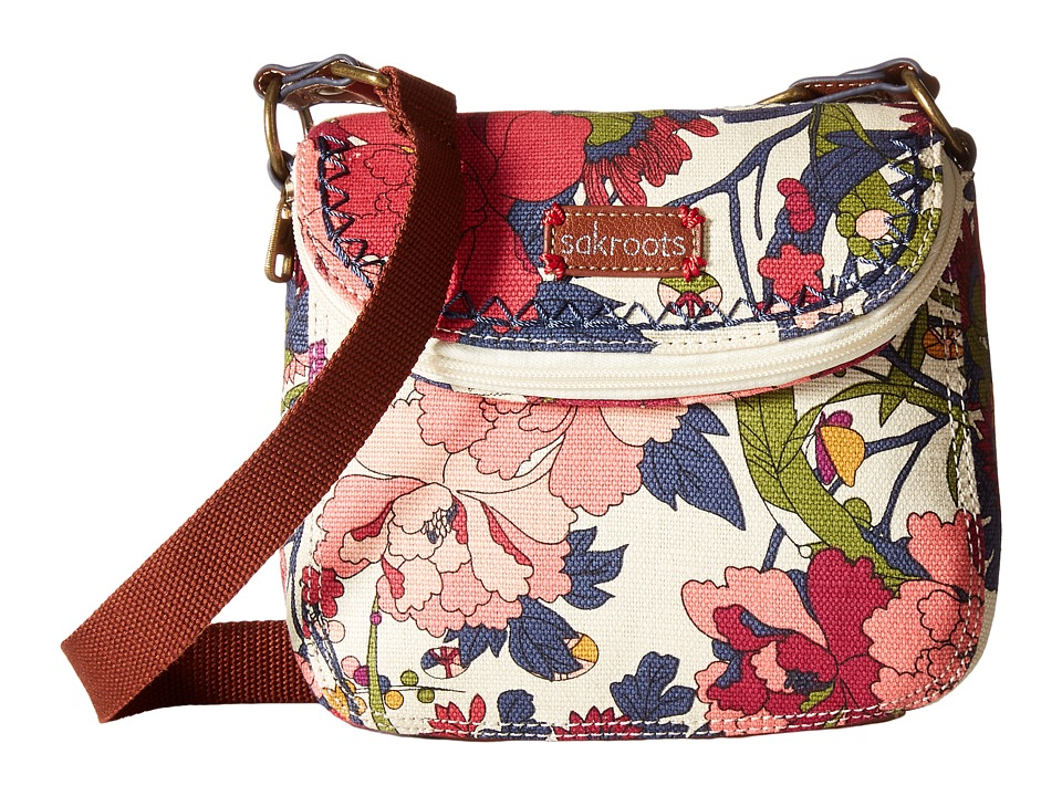 Sakroots Artist Circle Mini Fold Over Crossbody Cream Flower Power Cross Body Handbags
