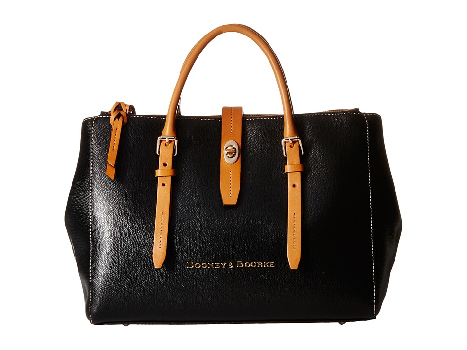 Dooney amp Bourke Claremont Miller Satchel Black/Butterscotch Trim Satchel Handbags