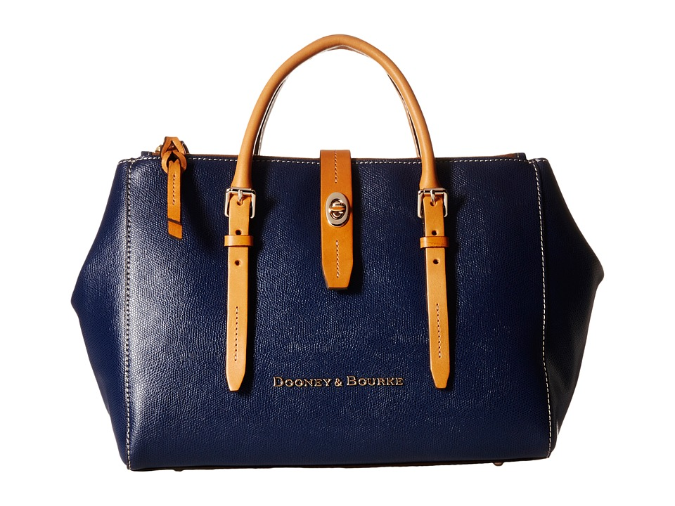 Dooney amp Bourke Claremont Miller Satchel Navy/Butterscotch Trim Satchel Handbags