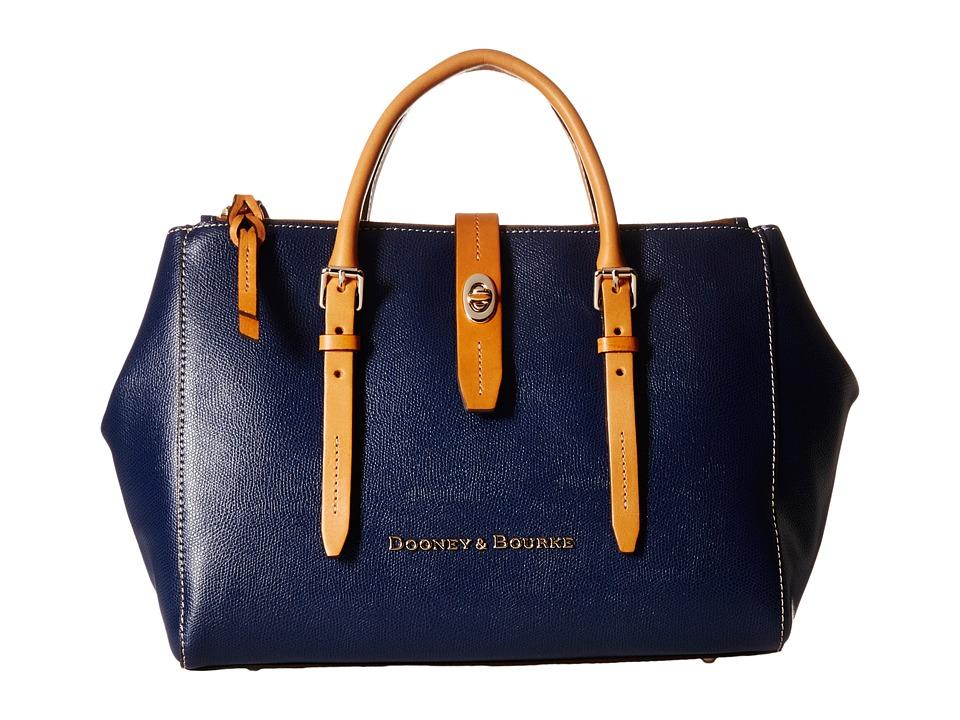 Dooney amp Bourke Claremont Miller Satchel Navy/Butterscotch Trim Satchel Handbags