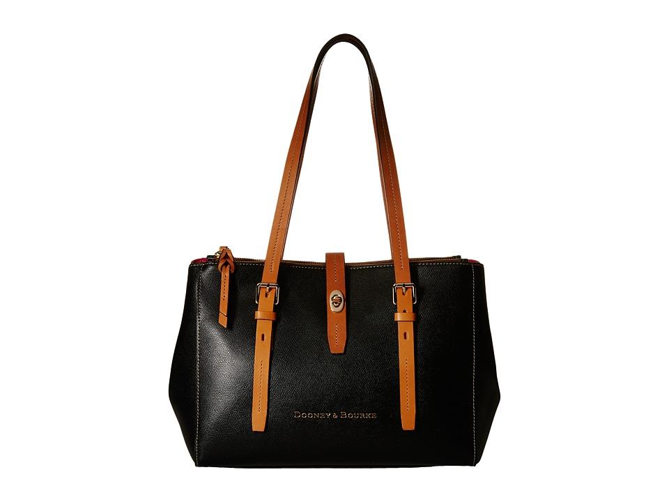 Dooney amp Bourke Claremont Miller Shopper Black/Butterscotch Trim Tote Handbags