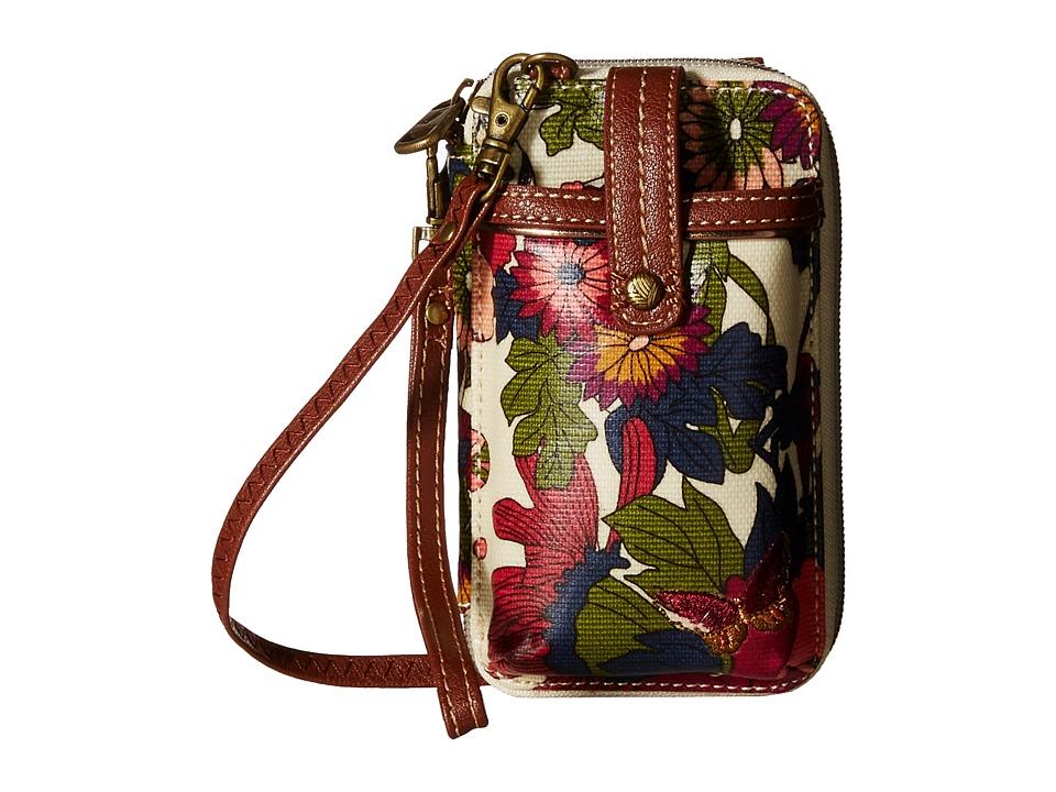 Sakroots Artist Circle Smartphone Wristlet Cream Flower Power Wristlet Handbags