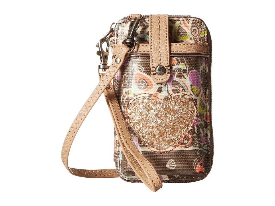 Sakroots Artist Circle Smartphone Wristlet Slate Songbird Wristlet Handbags