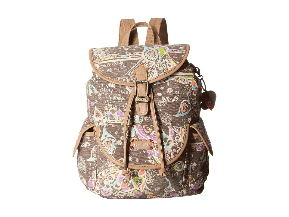 Sakroots - Artist Circle Small Flap Backpack (Slate Songbird Sequins) Backpack Bags
