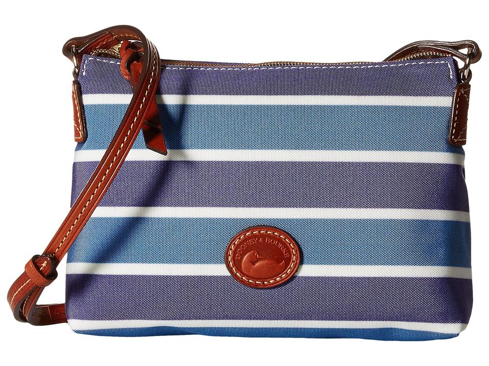 Dooney amp Bourke Eastham Crossbody Pouchette Blue/Navy/White/Tan Trim Cross Body Handbags