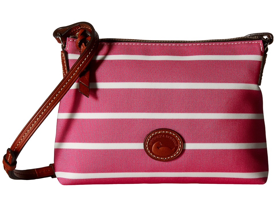 Dooney amp Bourke Eastham Crossbody Pouchette Hot Pink/Hot Pink/White/Tan Trim Cross Body Handbags