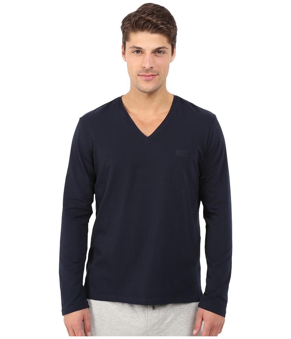 BOSS Hugo Boss Long Sleeve Mix and Match V Neck Cotton Stretch Navy Mens Clothing