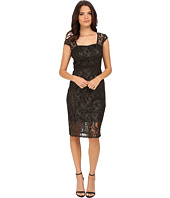 Adrianna Papell - Metallic Lace Sheath Dress with Cap Sleeve