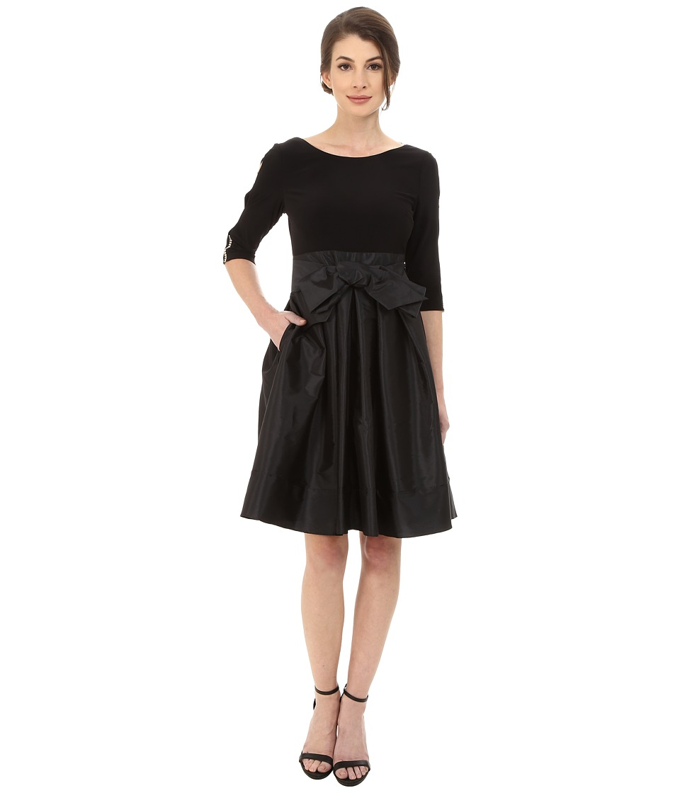 Adrianna Papell - Taffeta Twofer Fit and Flare (Black) Womens Dress