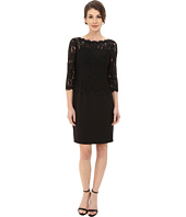 Adrianna Papell - Bateau Neck Long Sleeve Lace Overlay