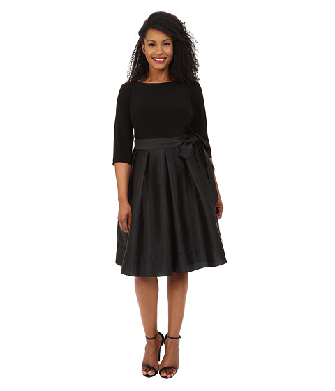 Adrianna Papell - Plus Size Taffeta Twofer Fit and Flare (Black) Women's Dress