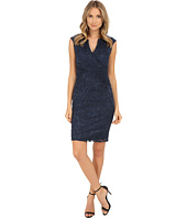 Adrianna Papell - Faux Wrap Pleats Sheath