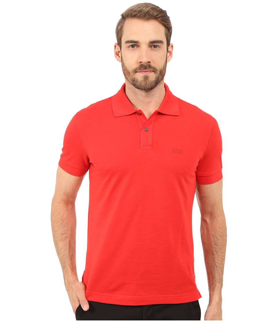 BOSS Green C Firenze/Logo 10108 Open Red Mens Short Sleeve Knit