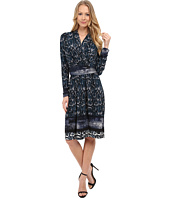 Adrianna Papell - Printed V-Neck Long Flare Dress