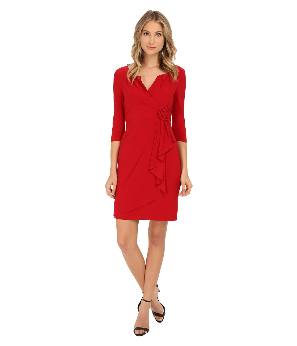 Adrianna Papell 3/4 Sleeve Lap Over Dress Cardinal Womens Dress