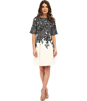 Adrianna Papell - Elbow Length Bell Sleeve A-Line Dress with Lace Print
