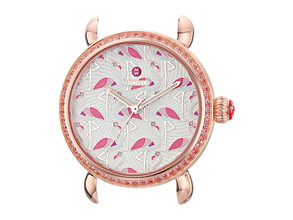 Michele Exotic Creatures Topaz RG Flamingo Diamond Dial Rose Gold Watches