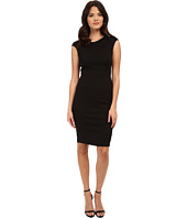 Adrianna Papell - Scoop Neck Cap Sleeve Bodycon Dress Combined with Hexagon Lace