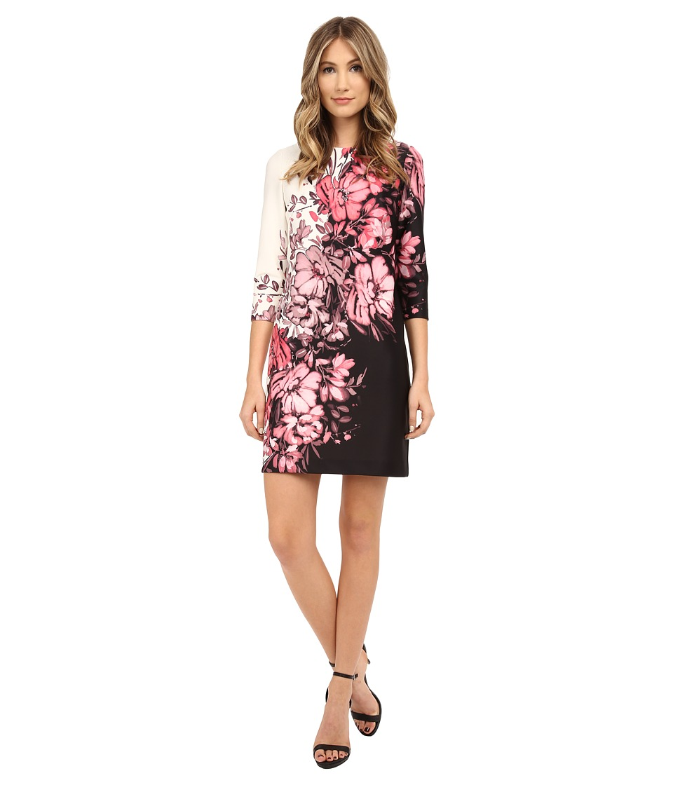 Adrianna Papell Floral Printed Scuba Dress with Gathering at Neck Black/Pink Womens Dress