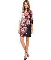 Adrianna Papell - Floral Printed Scuba Dress with Gathering at Neck
