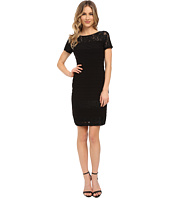 Adrianna Papell - Diagonal Stitched Bands Bodycon Dress