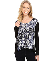 Calvin Klein Jeans - Printed Long Sleeve Woven Knit Mix Top