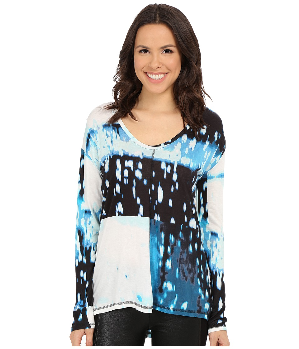 Calvin Klein Jeans - Printed Long Sleeve Slinky Top (Optical Blue) Women