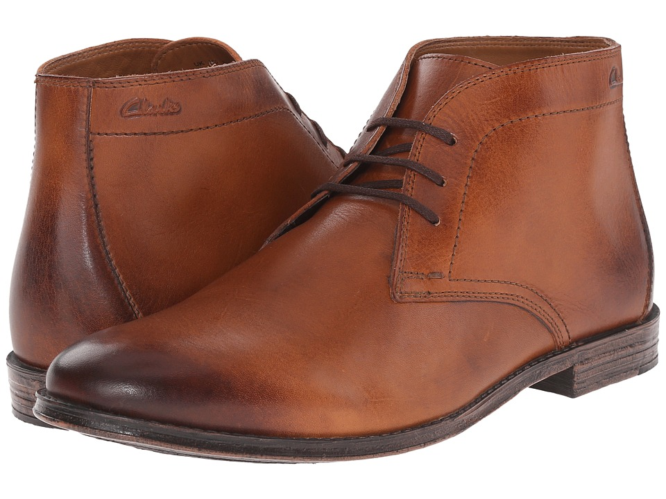 Clarks Hawkley Rise Tan Leather Mens Lace up Boots