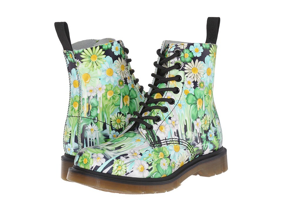 Dr. Martens Pascal 8 Eye Boot Green Paint Slick Backhand Womens Lace up Boots