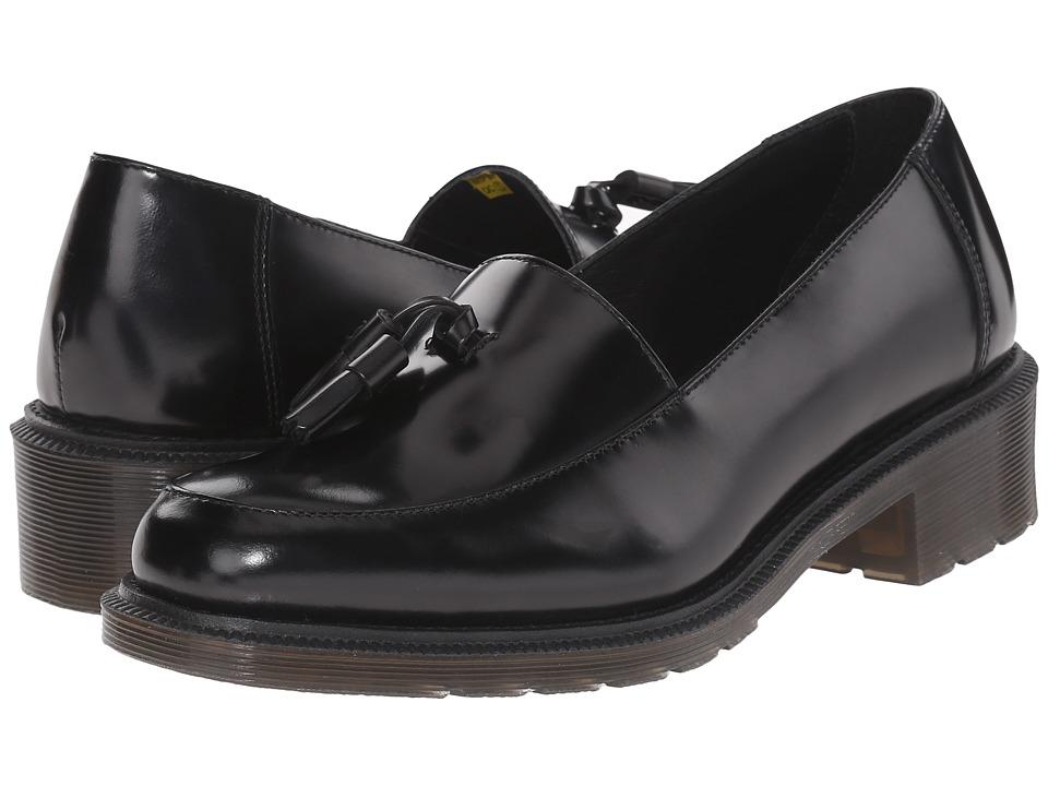 Dr. Martens Favilla Tassel Slip On Shoe Black Waxed Polished Smooth Womens Slip on Shoes