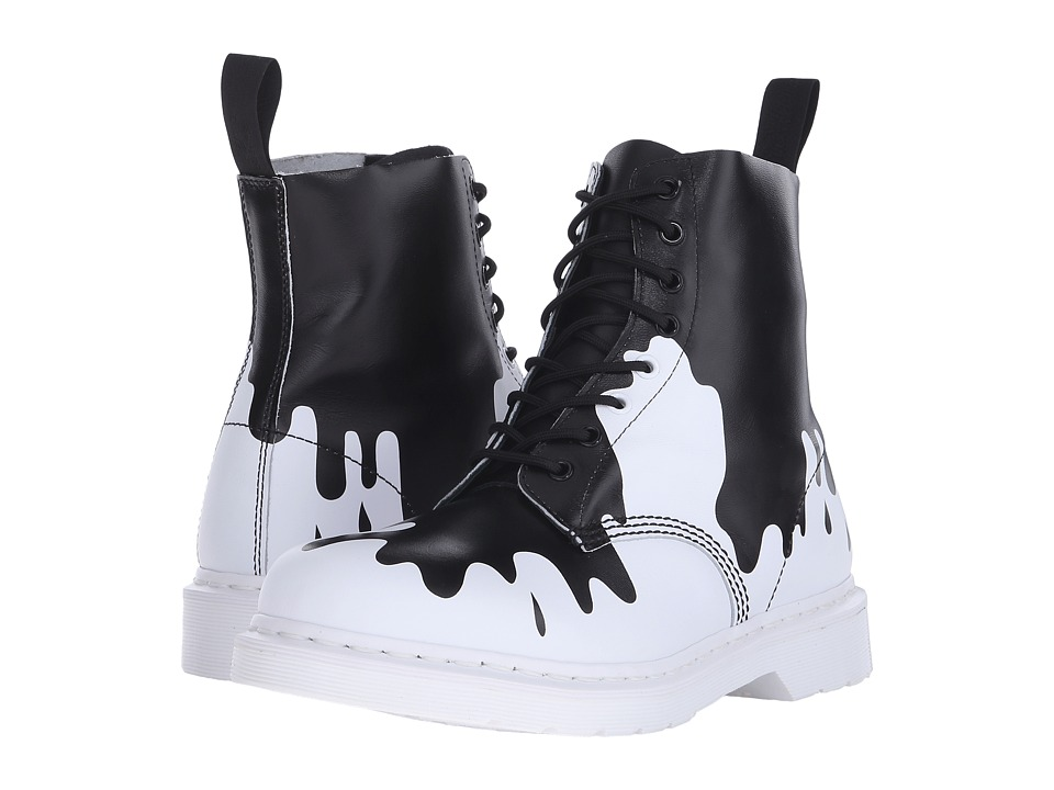 Dr. Martens Pascal 8 Eye Boot Black/White Paint Splat Soft T Lace up Boots