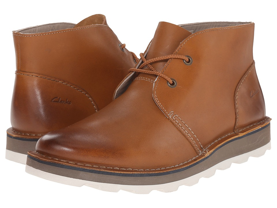 Clarks Darble Mid Cognac Leather Mens Lace up Boots