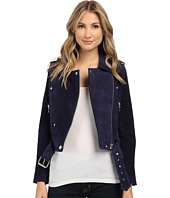 Blank NYC - Blue Suede Moto Jacket in Deep Blue/Navy