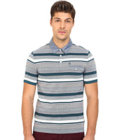 Original Penguin - Short Sleeve Bird's-Eye Stripe Polo w/ Chambray Collar Pique