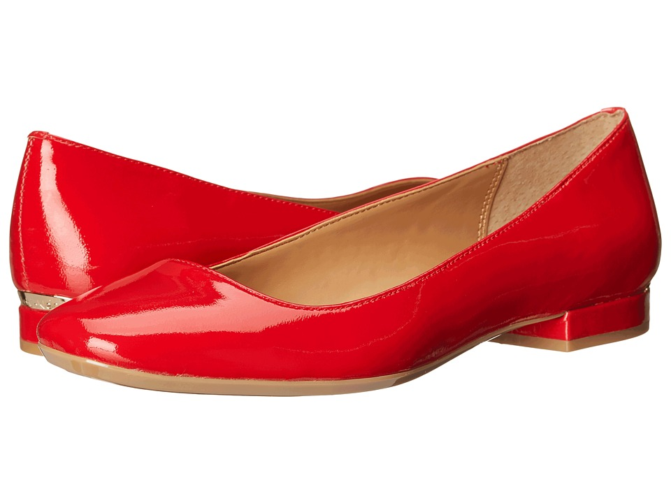 Calvin Klein Felice Lipstick Red Patent Womens Flat Shoes