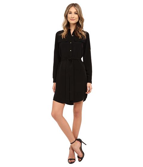 Black button front dress