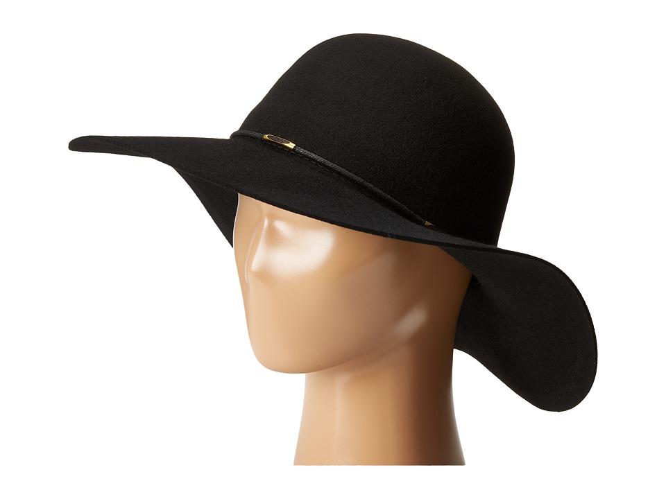 SCALA Wool Floppy Hat with Wax Cord Trim Black Caps