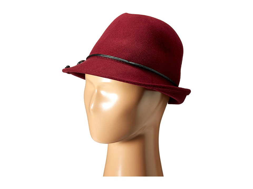 SCALA - Wool Felt Fedora with Faux Leather Trim and Bow Burgundy Fedora Hats $44.00 AT vintagedancer.com