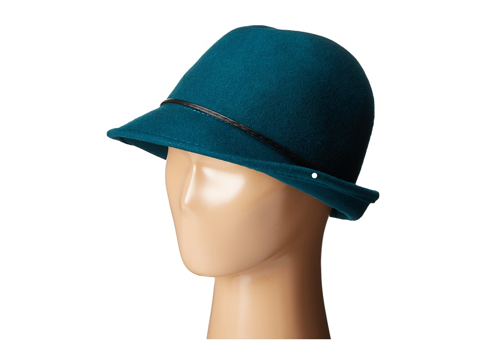 SCALA - Wool Felt Fedora with Faux Leather Trim and Bow Teal Fedora Hats $44.00 AT vintagedancer.com
