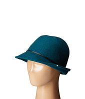 SCALA - Wool Felt Fedora with Faux Leather Trim and Bow