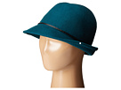 SCALA Wool Felt Fedora with Faux Leather Trim and Bow (Teal)