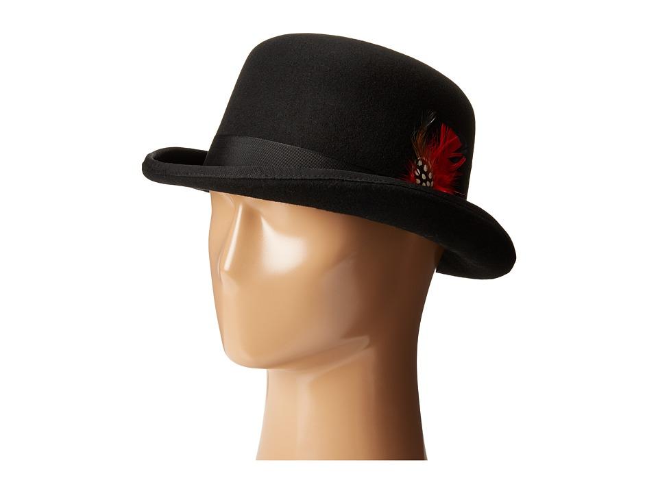 SCALA - Wool Felt Derby Hat with Grosgrain Trim (Black) Caps