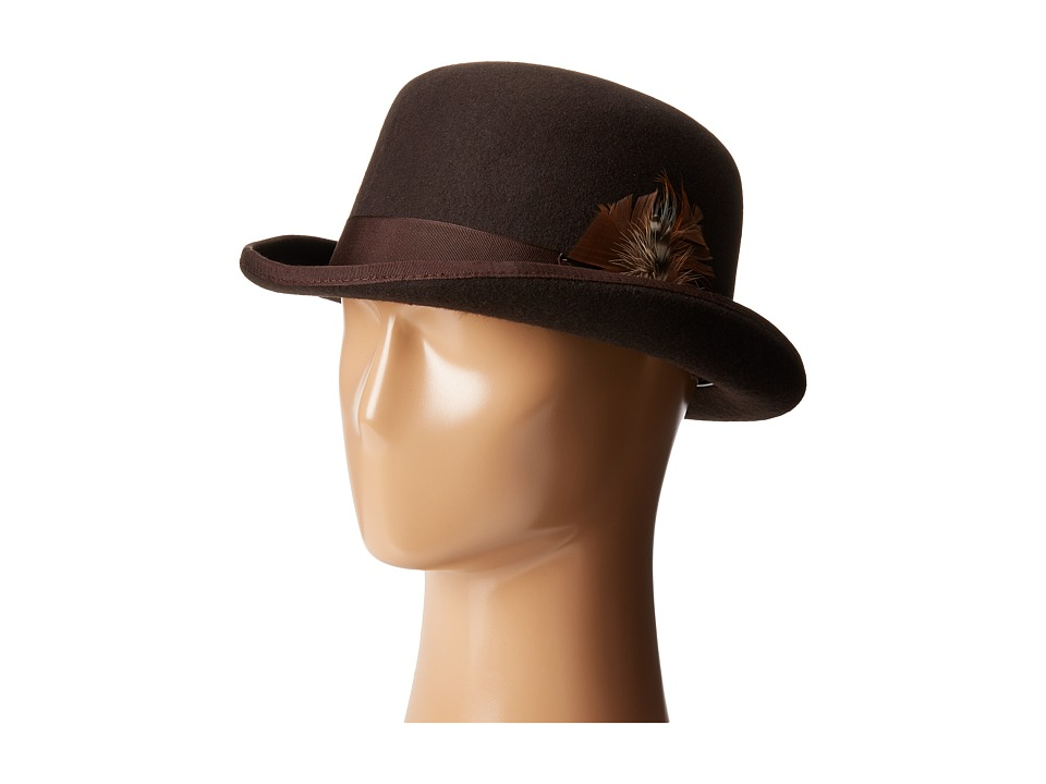 Men's Vintage Style Hats Derby Hat with Grosgrain Trim Chocolate Caps $37.99 AT vintagedancer.com