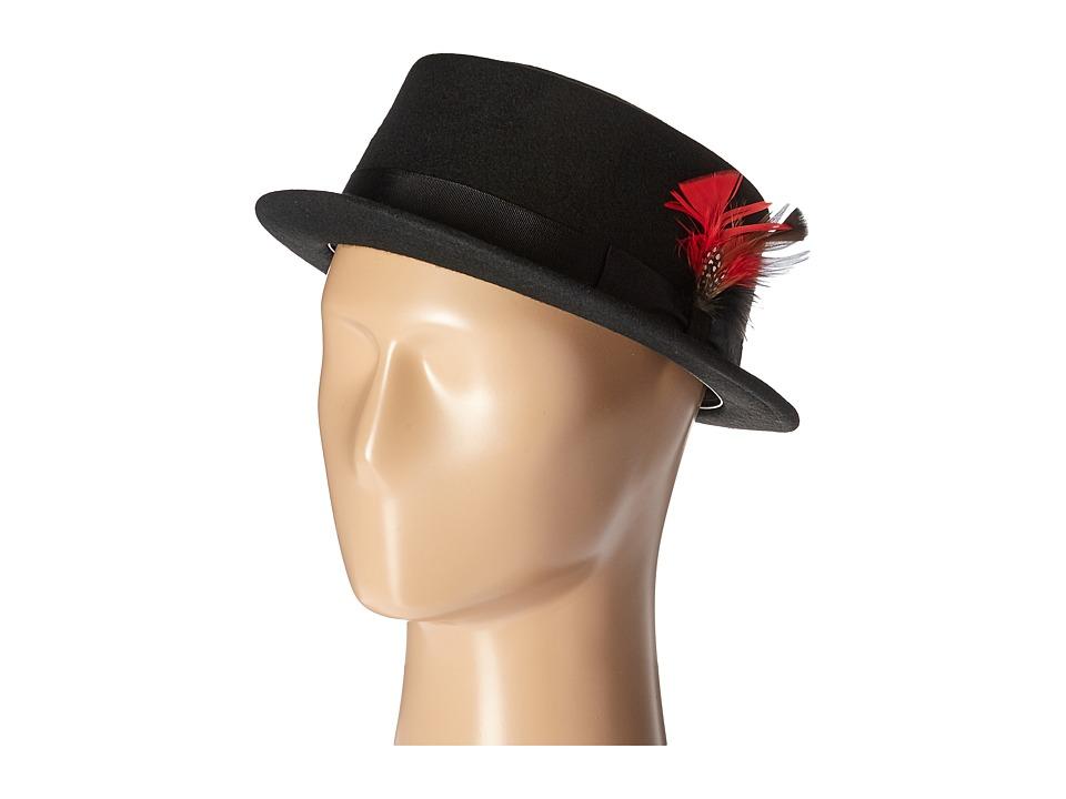 SCALA Narrow Brim Pork Pie Hat with Ribbon Trim Black Caps