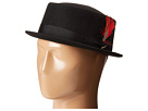 SCALA Narrow Brim Pork Pie Hat with Ribbon Trim (Black)